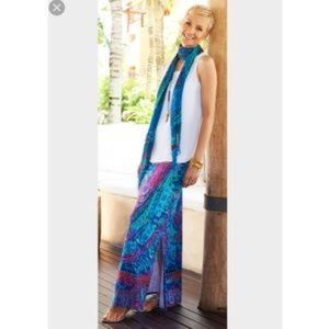 Chicos Paisley Multi Color Sandra Slit Skirt M